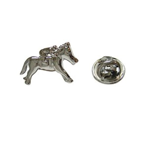 Silver Toned Horse Racing Jockeyラペルピン