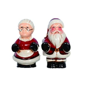 セラミックMr。& Mrs Claus Salt & Pepper Shakers