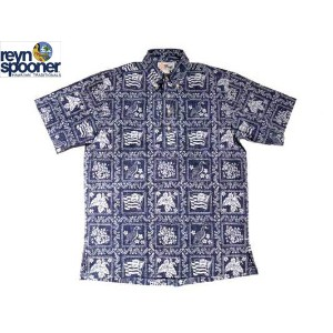 REYN SPOONER(レインスプーナー)GOLD LABEL/#126 PULLOVER B.D. HAWAIIAN SHIRTS/LAHAINA SAILOR/navy【父の日】【ギフト】