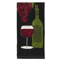 All-Clad Textiles Fiber Reactive Wine Themed Print on Kitchen Towel, Black by All Clad Textiles ...
