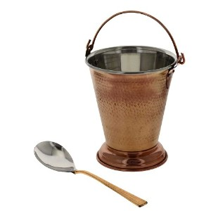 Indian Copper Tableware Balti Bucket and Serving Spoon Set by ShalinIndia [並行輸入品]