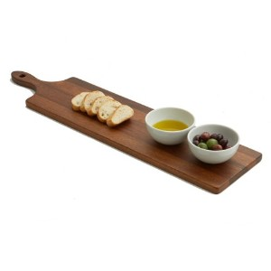Woodard &チャールズ・パドルボードwith 2 Dip Bowls、26-inch、Acacia Wood