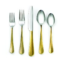 Cambridge Silversmiths 20 Piece Indira Jessamine Flatwareセット、真鍮