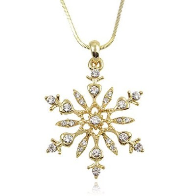 Beautiful Large 2.5cm - 0.6cm Gold Tone Snowflake Crystal Pendant/necklace Winter Fashion Jewellery