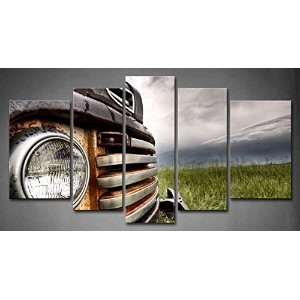 Wall art painting 5 Panel Wall Art Old Vintage Truck On The Prairie Painting Pictures Print On...