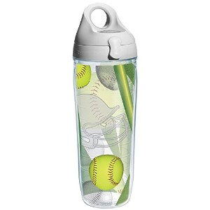 High Quality Softball Wrap and Water Bottle with Grey Lid, 24-Ounce, Beverage