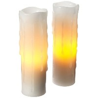 電池式( 2aa ) Dripping Flameless LED Votive Candles ( Pack of 2 ) 1.75 * 6 ホワイト JA-12008WU