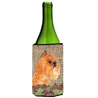 Caroline's Treasures SS4084LITERK Brussels Griffon on Faux Burlap with Pine Cones Wine Bottle...