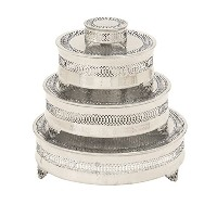 Deco 79 Metal Cake Plate, 22 by 18 by 14 by 6-Inch, Set of 4 by Deco 79