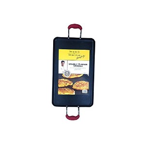 IMUSA AS-31005 Aaron Sanchez Double Burner Griddle, 19-Inch, Red [並行輸入品]