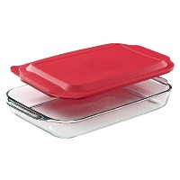 4.8 Quart Oblong Baking Dish with Red Plastic Lid [並行輸入品]