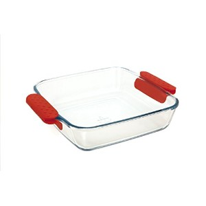 Marinex Prediletta Medium Square Glass Roaster with Red Silicone Handles, 1.9-Quart [並行輸入品]