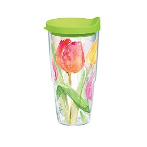Tervis Tea for Tulips Wrap Bottle with Lime Green Lid, 24-Ounce, Garden Party [並行輸入品]