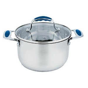 Europware 0163-28CA Stainless Steel 10.4 quart Casserole Pan with Glass Lid, Large, Silver/Blue ...