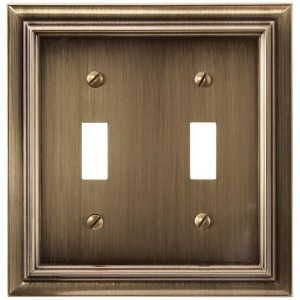 Amerelle 94TTBB Continental Cast Metal Wallplate with 2 Toggle, Brushed Brass [並行輸入品]