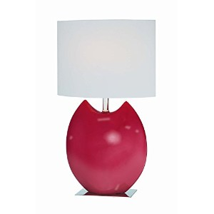 Lite Source LS-21335RED Spazio Ceramic Table Lamp, Red with Off-White Fabric Shade [並行輸入品]