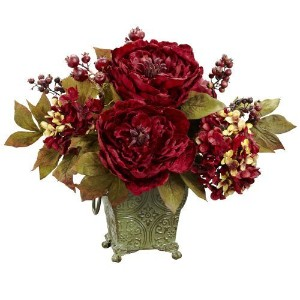 Nearly Natural 4928 Peony and Hydrangea Silk Flower Arrangement, Red by Nearly Natural [並行輸入品]