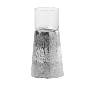 Torre & Tagus 901932A Mantra Hammered Tealight Holder, Short, Silver [並行輸入品]