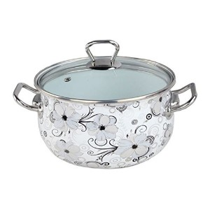 Europe Ware K1279/24 Enamel 6.5 quart Casserole Pan with Lid and Decorative Design, Large, White...