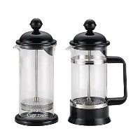 High Quality Coffee Borosilicate Glass French Press & Milk Frother Set, 12.7-Ounce, La Petite, Black