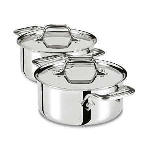 All-Clad E849A264 Stainless Steel Cocottes, 2-Piece, Silver [並行輸入品]