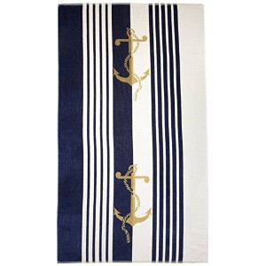Northpoint Newport Oversized Double Jacquard Plush Velour Beach Towel, 40 by 70-Inch, Anchors [並行輸入品]