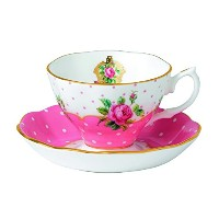 Royal Albert New Country Roses Vintage Teacup and Saucer, White [並行輸入品]