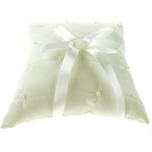 Firefly Imports Wedding Ring Bearer Pillow, 7-Inch, Checkered Pearls, Ivory [並行輸入品]