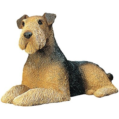 High Quality Airedale Terrier Lying Sculpture, Mid-Size
