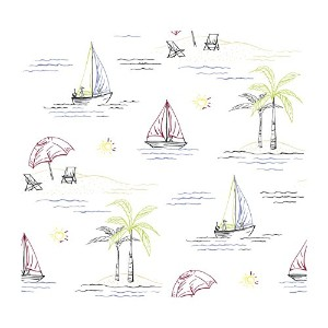 York Wallcoverings AC6120SMP By The Sea Novelty Sailboats 8 X 10 Wallpaper Memo Sample, White...