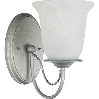 Sea Gull Lighting 44891-57 Bath Vanity with Etched White Alabaster?Glass Shades, Weathered Pewter...
