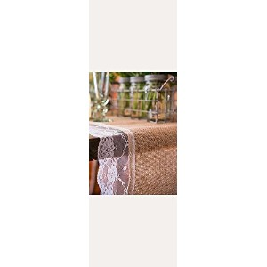 Natural Burlap Table Runner with Lace Edging Style 9716, 14x90 [並行輸入品]
