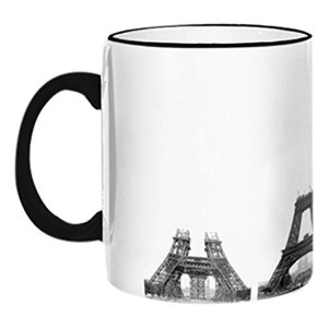 Retrospect Group 'CONSTRUCTION OF EIFFEL TOWER' Ceramic Mug, White with Black Handle and Rim [並行輸入品]