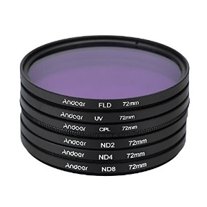 Andoer 72mm UV + CPL + FLD + ND(ND2 ND4 ND8)フィルターキットセット 紫外線・円偏光・蛍光・減光フィルター Nikon Canon Sony...