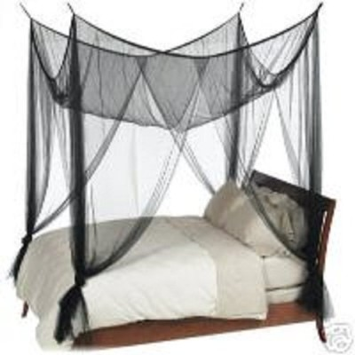 (Black) - Octorose 4 Poster Bed Canopy Netting Functional Mosquito Net Full Queen King (Black)