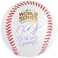 送料無料 Kris Bryant Chicago Cubs 2016 MLB World Series Champions Autographed World Series Logo...