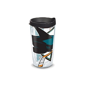 """Tervis 1105266"""" NHL San Sharks Colossal """" Tumbler withブラック蓋、ラップ、16オンス、クリア"""