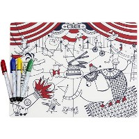 modern-twist Kids Mark-Mat Silicone Coloring Placemat with 4 Dry-Erase Markers, Circus by modern...
