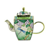 "Kelvin Chen Enameledミニチュアヒンジ蓋Tea pot- Dragonfly in Grape Vineyard、3.5 "" T"