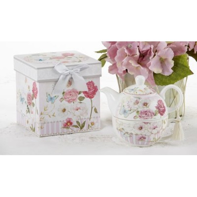 Delton製品ピンクGraceパターンPorcelain Tea for One with Matching記念品ボックス