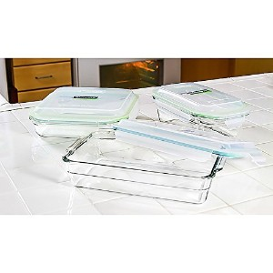 Glasslock 6-Piece Oven Safe Bakeware Set with lids,9 by 9-Inch 5 by 9-Inch 6.5 by 10.5-Inch by...