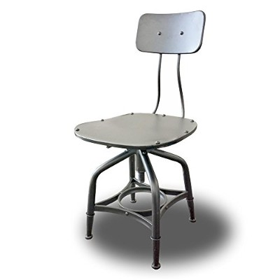 Vernon Retro Steel Rotating Adjustable Height Chair/Bar Stool - Vintage Grey