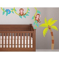 Sunny Decals Monkeys on a Vine Fabric Wall Decal with Palm Tree, Monkey Vine and Monkey Wall...