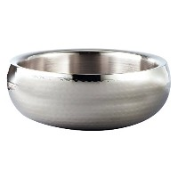 Elegance Hammered 11-Inch Round Stainless Steel Doublewall Serving Bowl [並行輸入品]