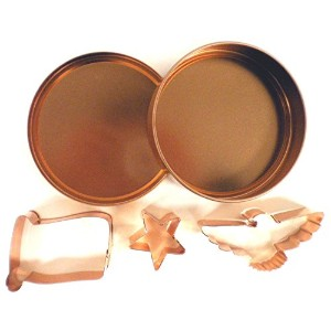 Global Decor Americana Cookie Cutter Set in Round Copper-Plated Container [並行輸入品]