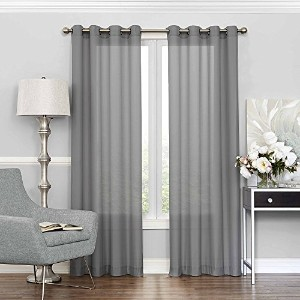High Quality 15458052095GRE Liberty Light Filtering Sheer Curtain, 52 x 95, Grey