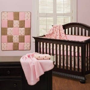 Cotton Candy Pink 7 Piece Baby Crib Bedding Set by Pem America