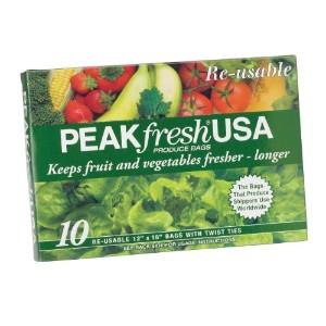"PEAKfresh USA, Produce Bags, Reusable, 10 - 12"" x 16"" Bags, with Twist Ties"