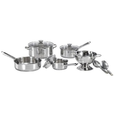 WearEver A834S974 Cook and Strain Stainless Steel Dishwasher Safe 10-Piece Cookware Set, Silver
