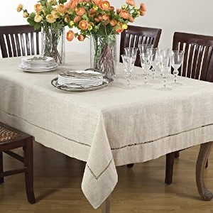 Handmade Hemstitch Design Natural Tablecloth. One Piece. 80 Inch Square. by fenncostyles.com